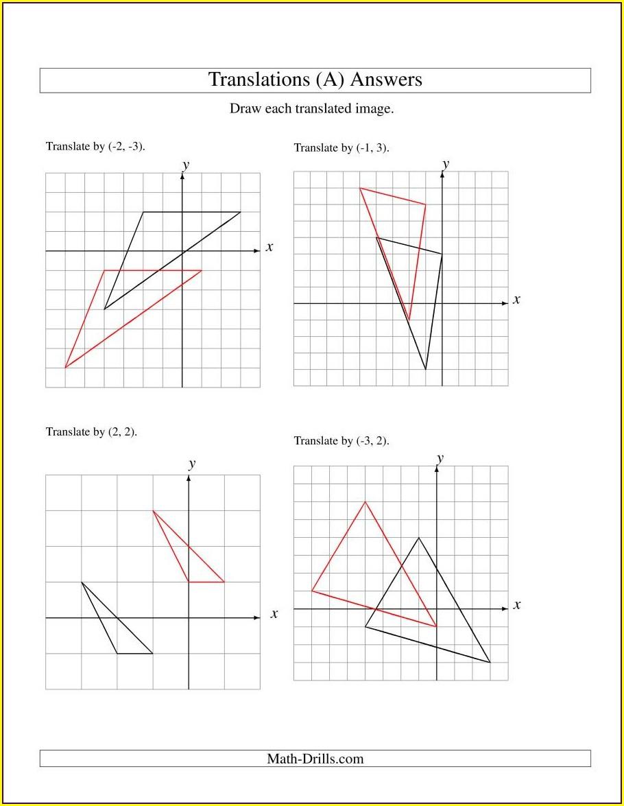 Translation Math Practice Worksheets