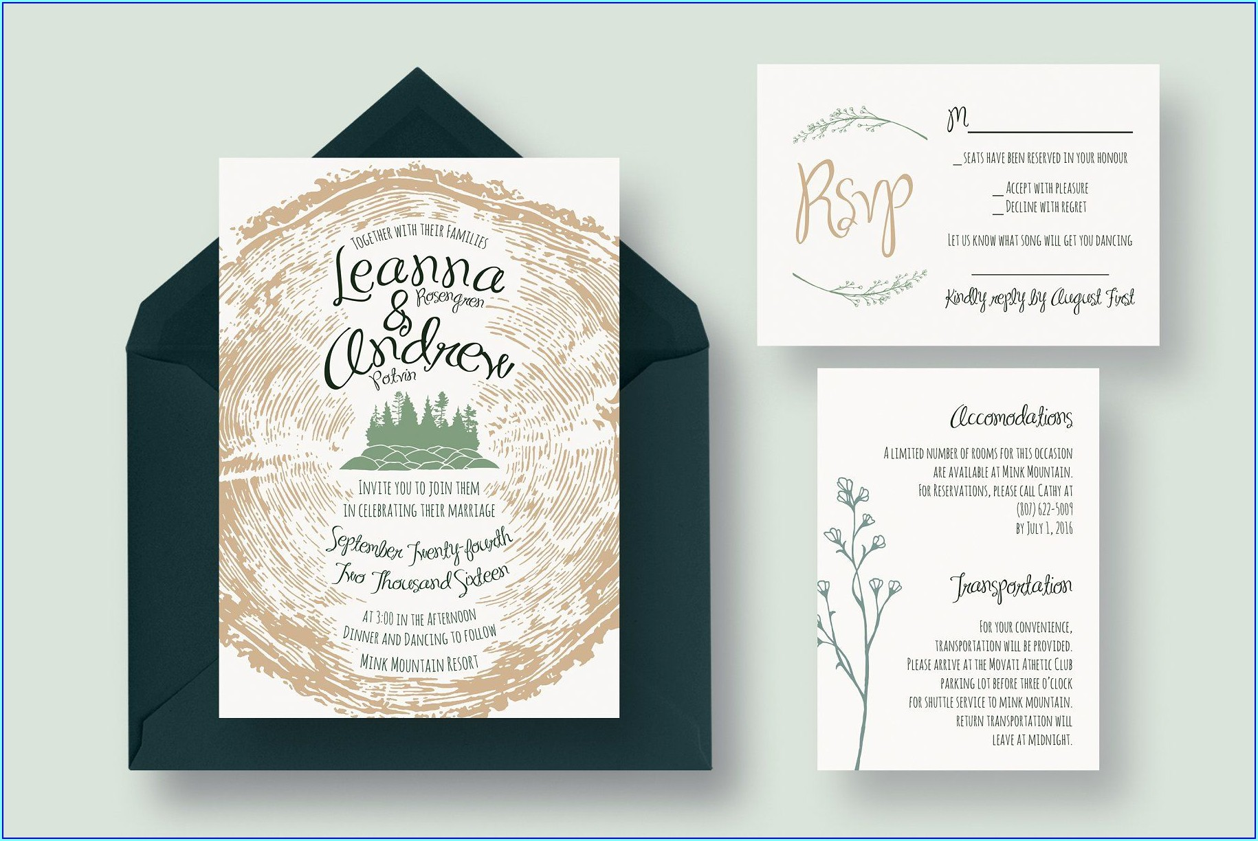 Tree Wedding Invitations Templates
