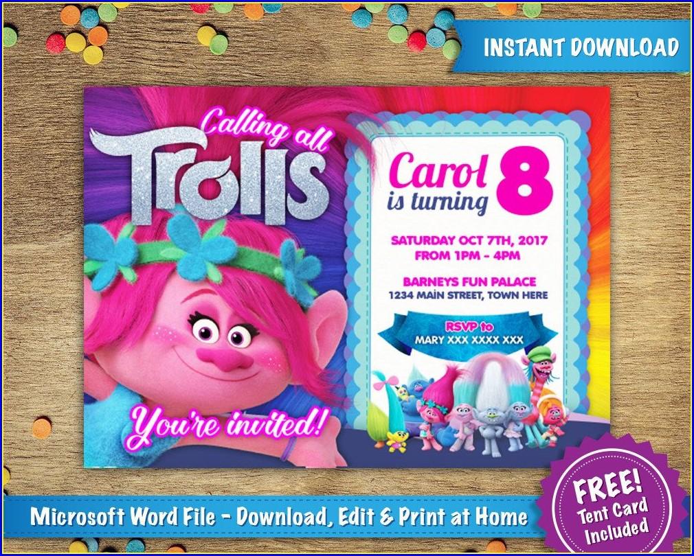 Trolls Birthday Invitation Template Free
