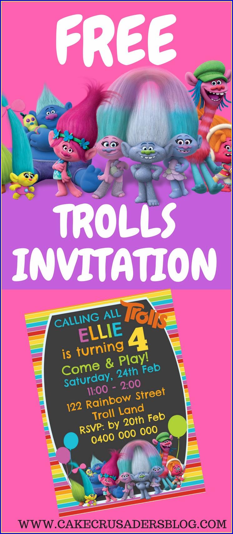 Trolls Birthday Invitations Free