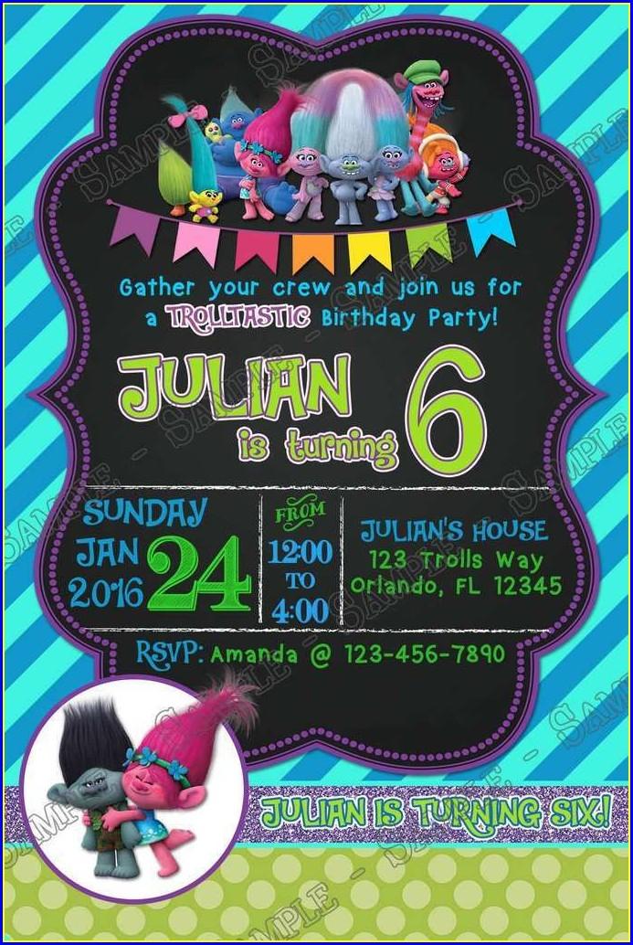 Trolls Party Invitation Template Free