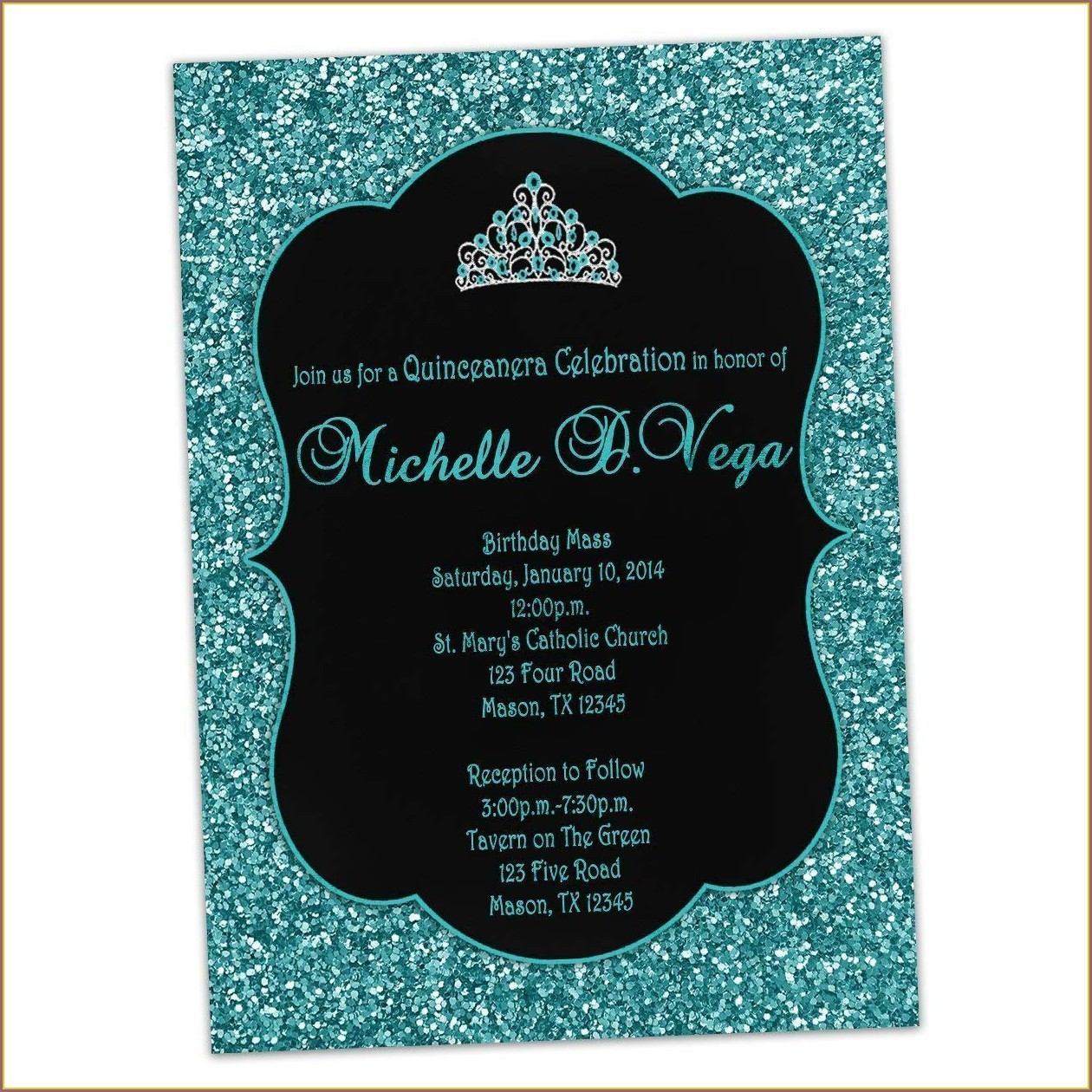 Turquoise And Black Birthday Invitations