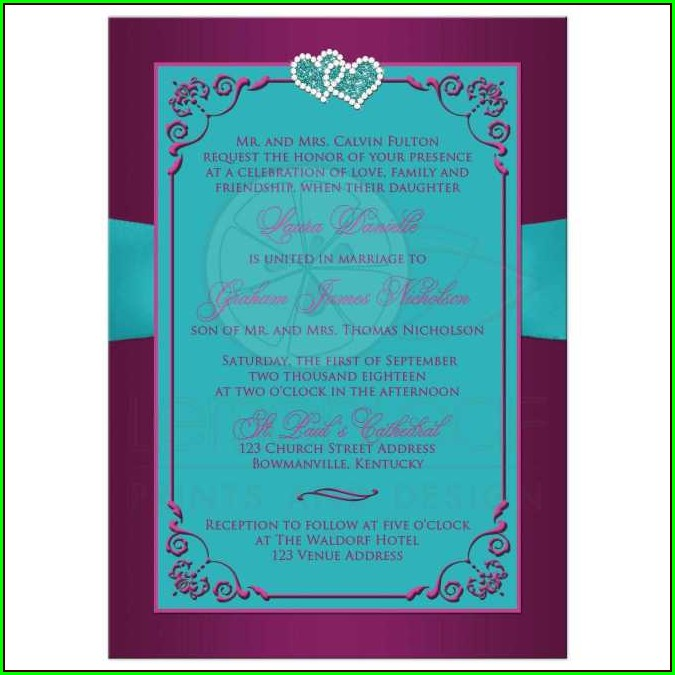 Turquoise And Purple Wedding Invitations