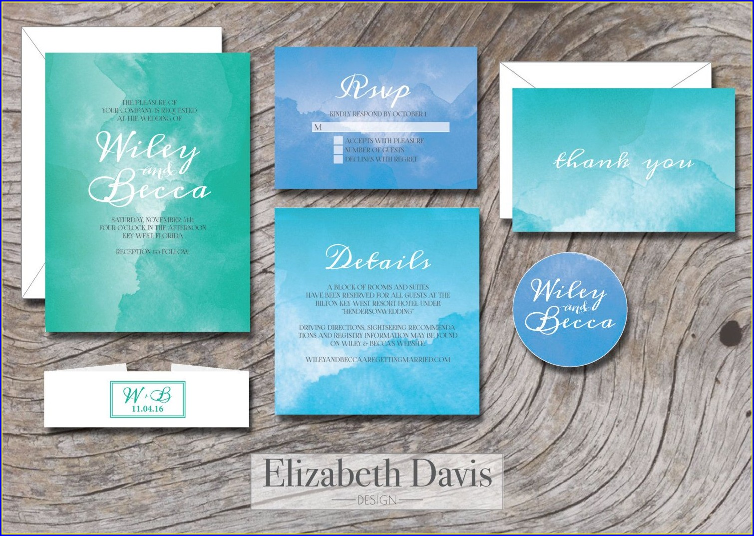 Turquoise Green Wedding Invitations