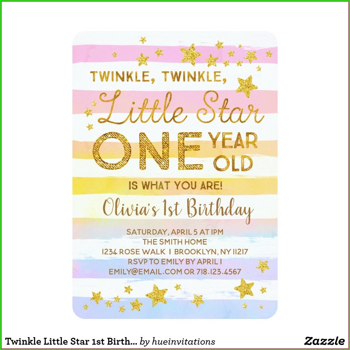 Twinkle Twinkle Little Star 1st Birthday Invitations