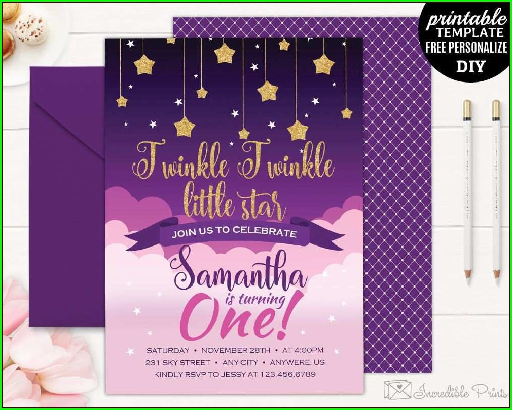 Twinkle Twinkle Little Star Birthday Invitation Template Free