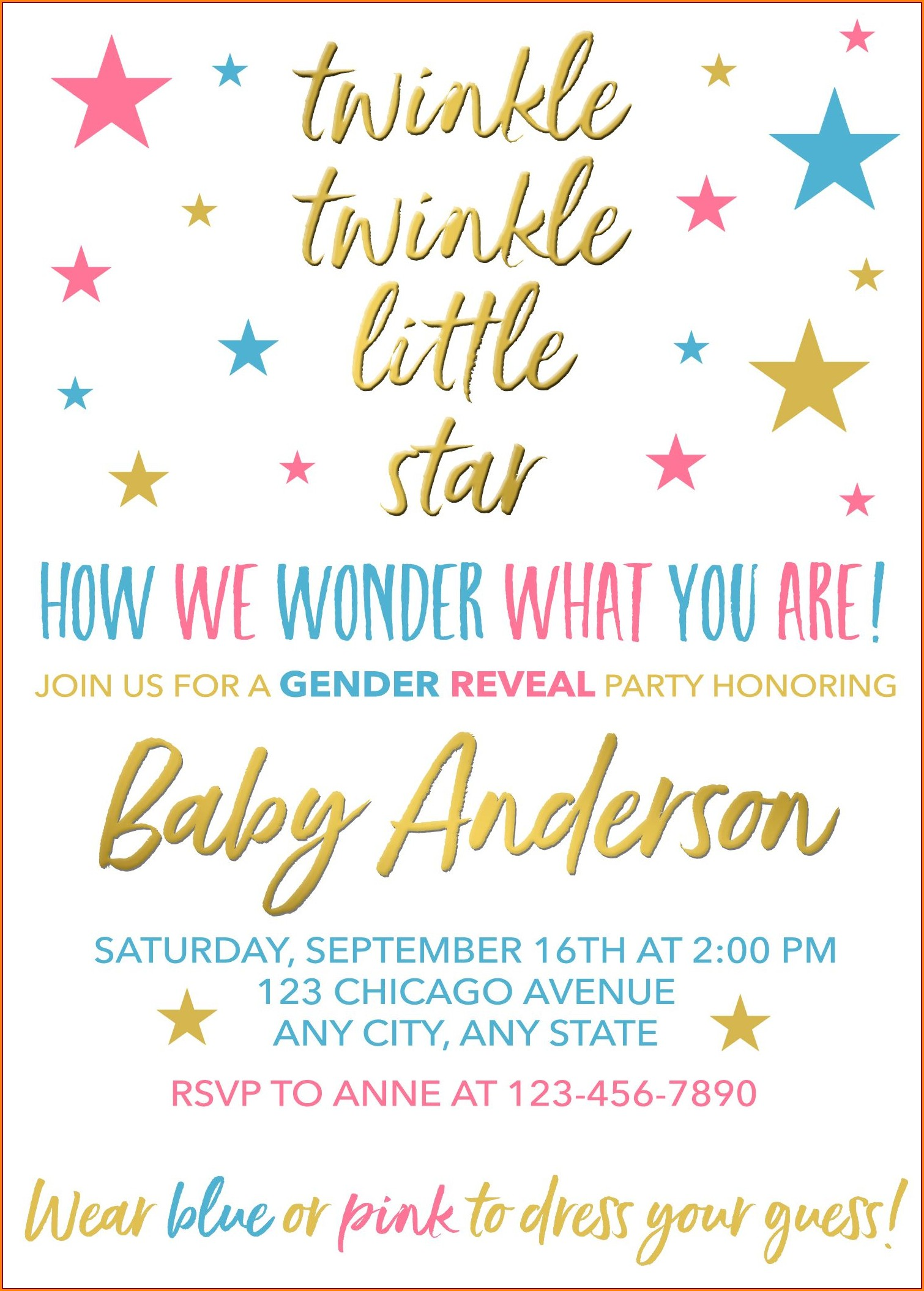 Twinkle Twinkle Little Star Gender Reveal Invitations Free Template