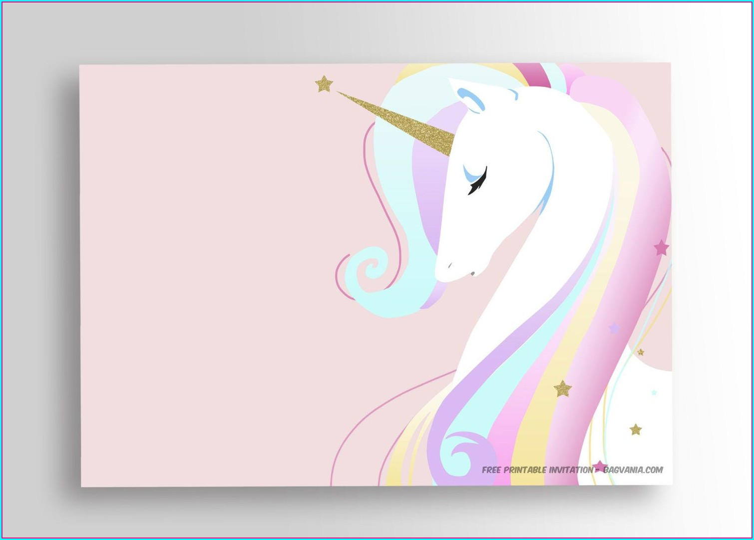 Unicorn Background Editable Unicorn Invitation Template