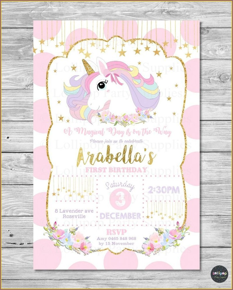 Unicorn Birthday Card Invitation