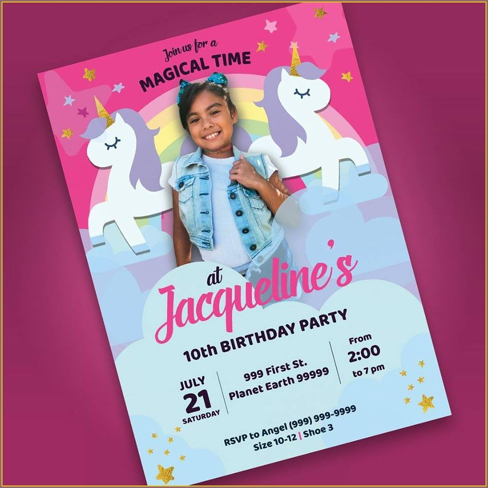 Unicorn Invitation Card 7th Birthday
