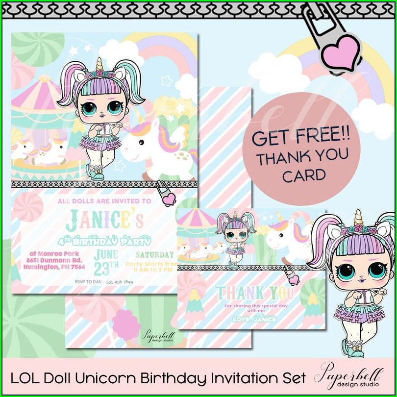 Unicorn Lol Doll Invitations
