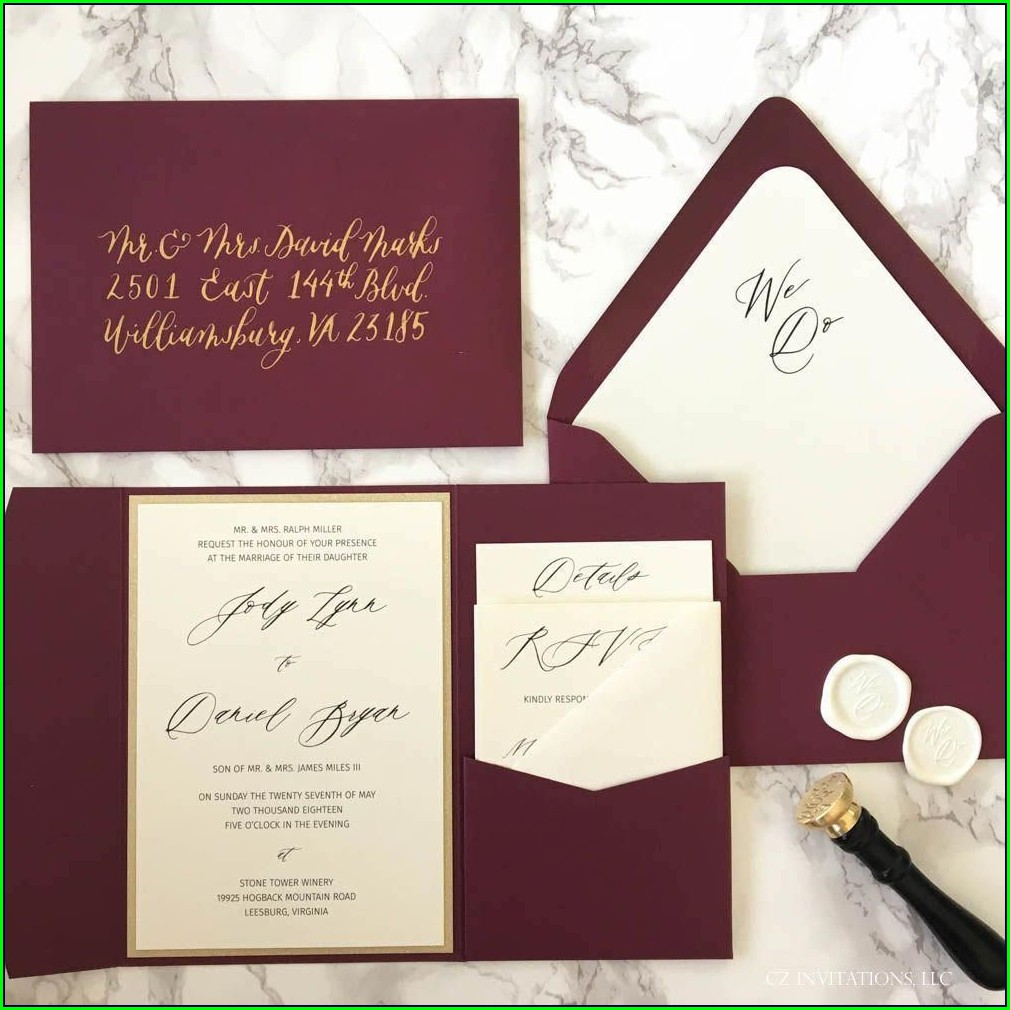 Unique Burgundy And Gold Wedding Invitations
