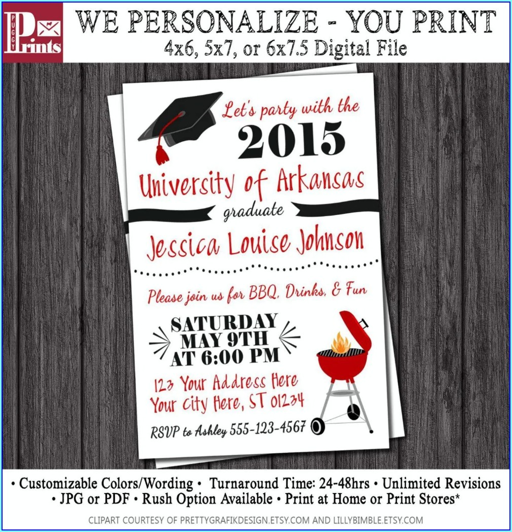 University Of Arkansas Graduation Invitations