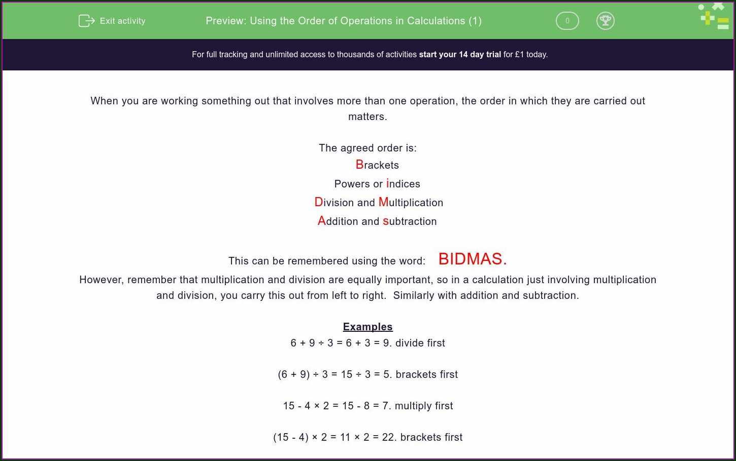 Using The Order Of Operations Worksheet