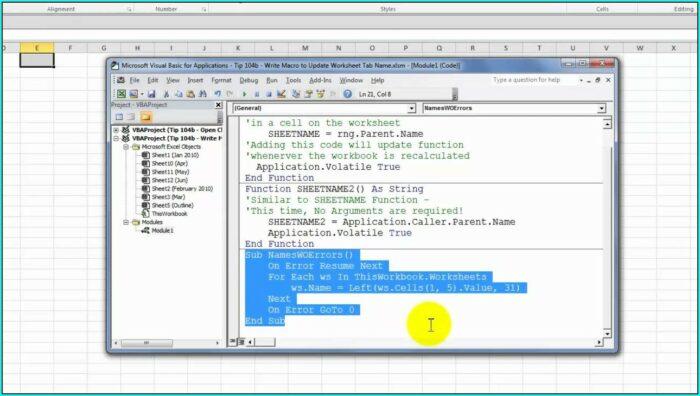 Vba Function Worksheet Name