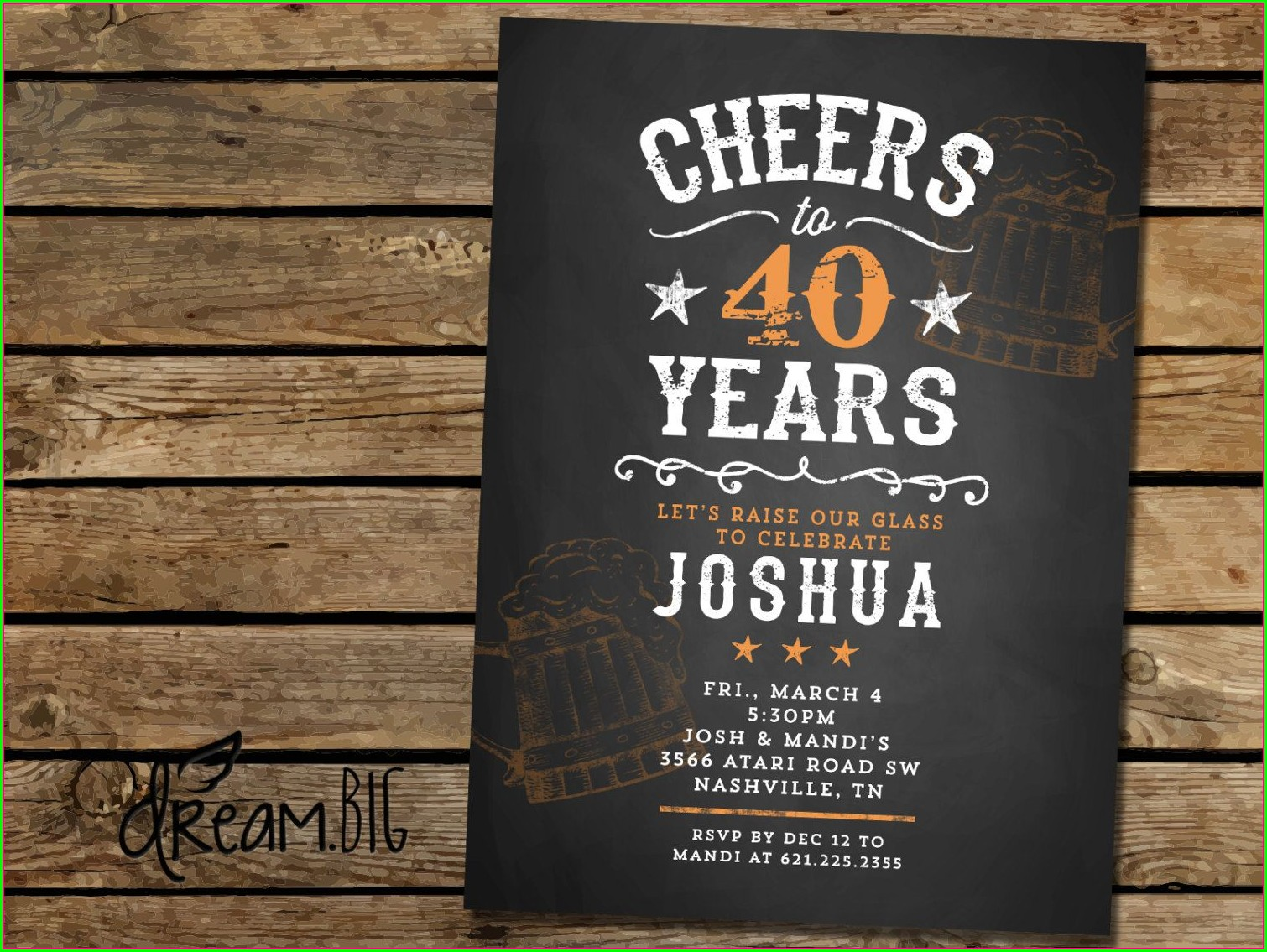 Vintage 40th Birthday Invitations