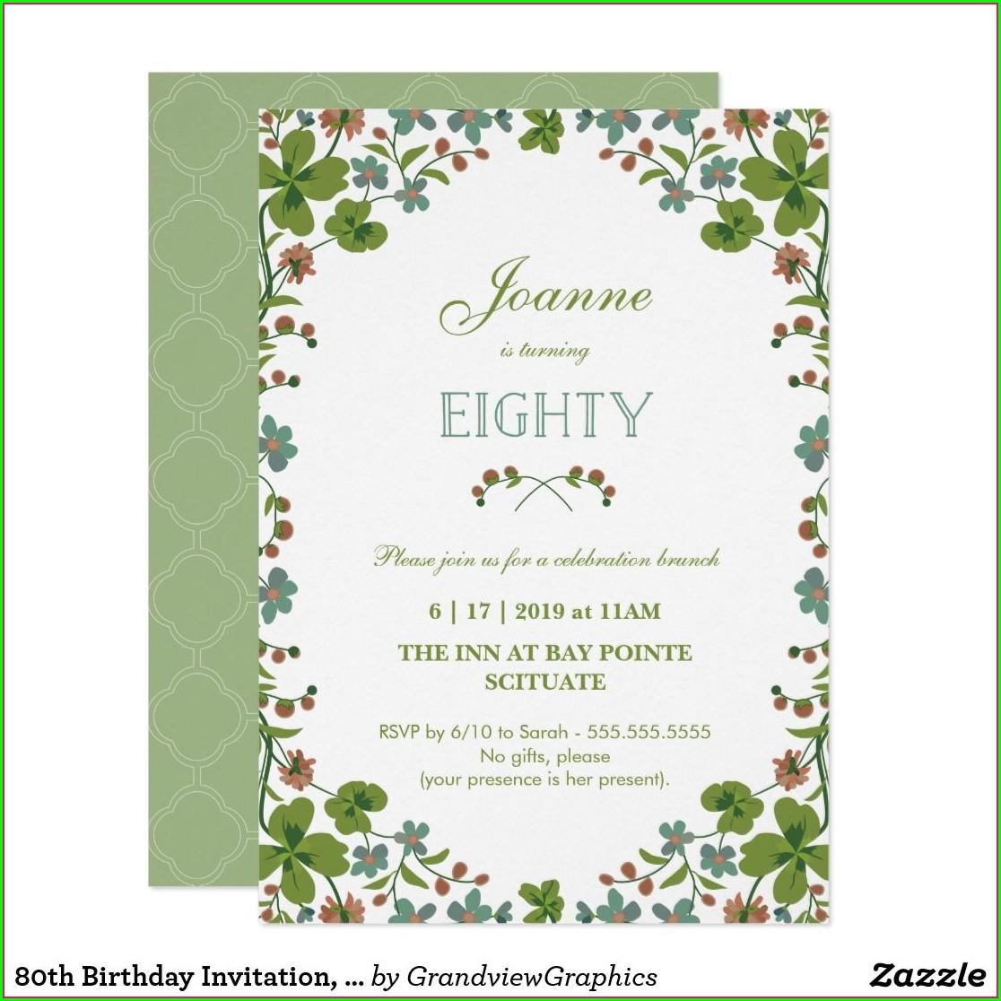 Vintage 80th Birthday Invitations