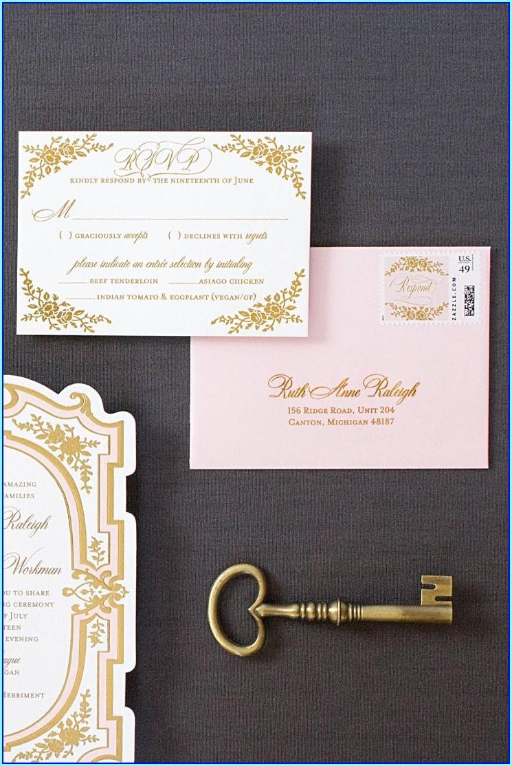 Vintage Gold Wedding Invitations