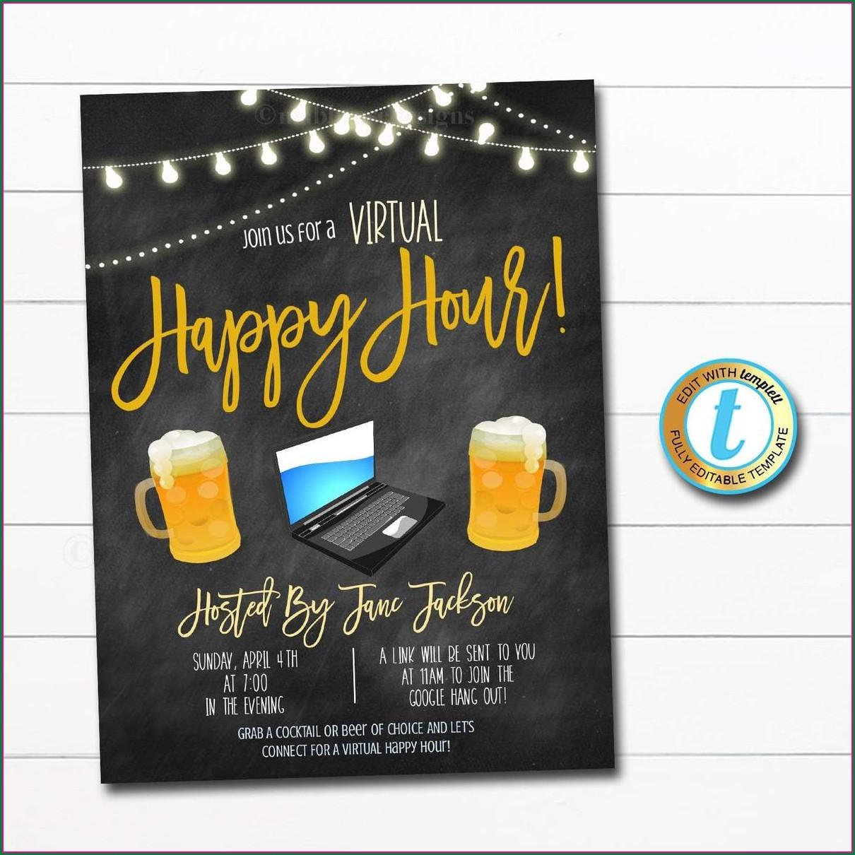 Virtual Happy Hour Invite Template Free