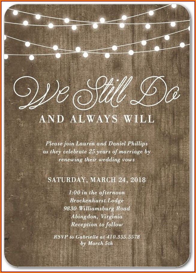Vow Renewal Invitation Wording No Gifts