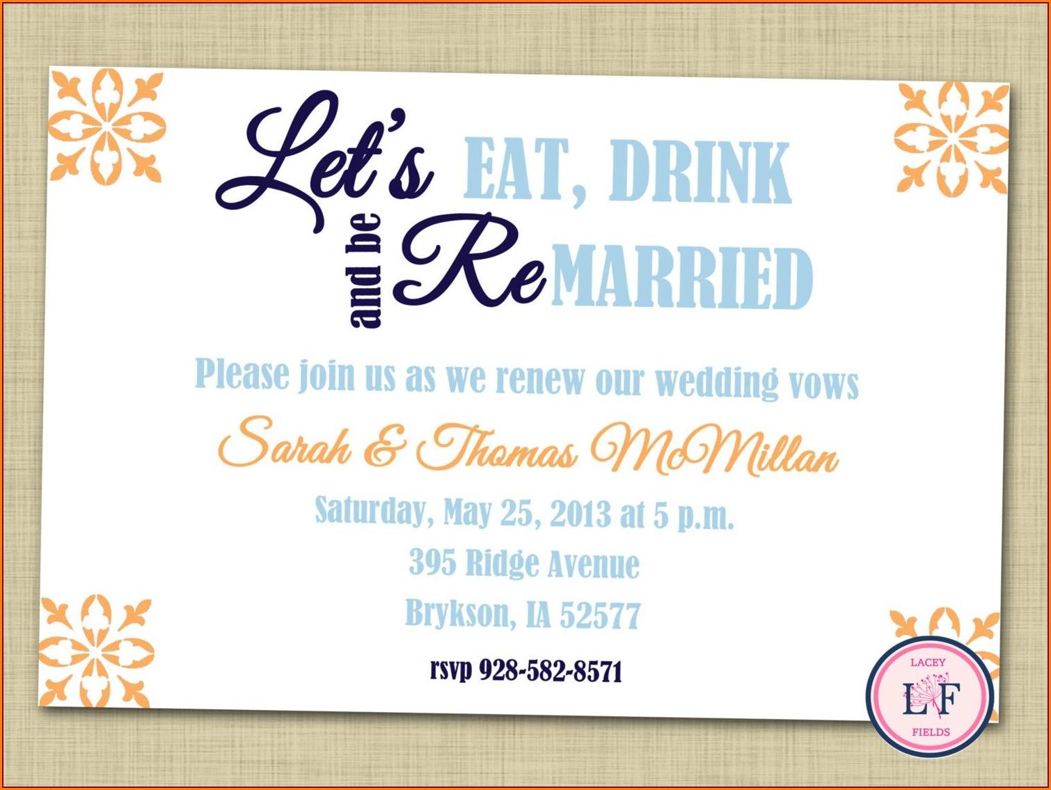 Vow Renewal Invitation Wording