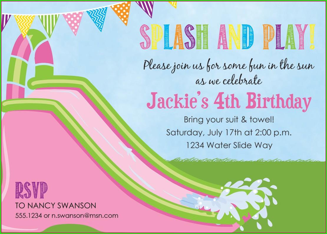 Water Slide Birthday Party Invitations