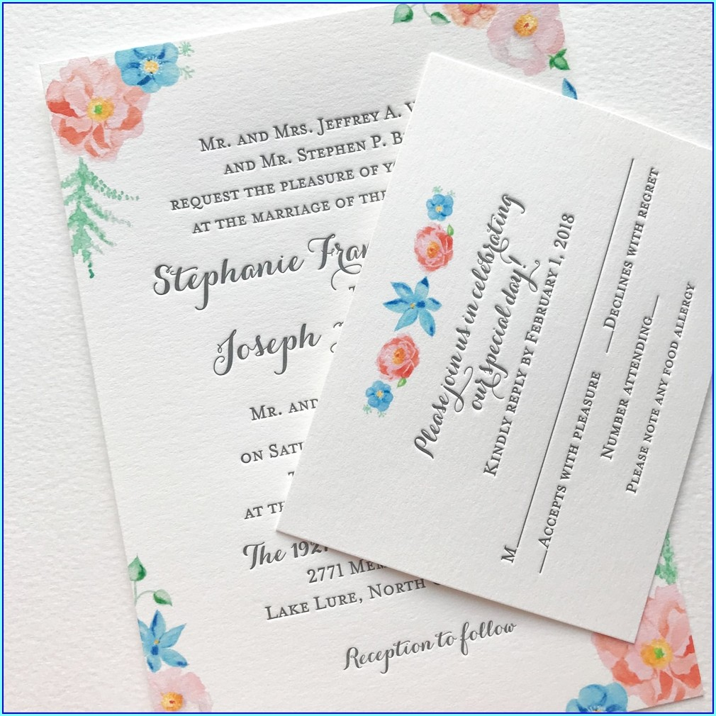 Watercolor Floral Wedding Invitations