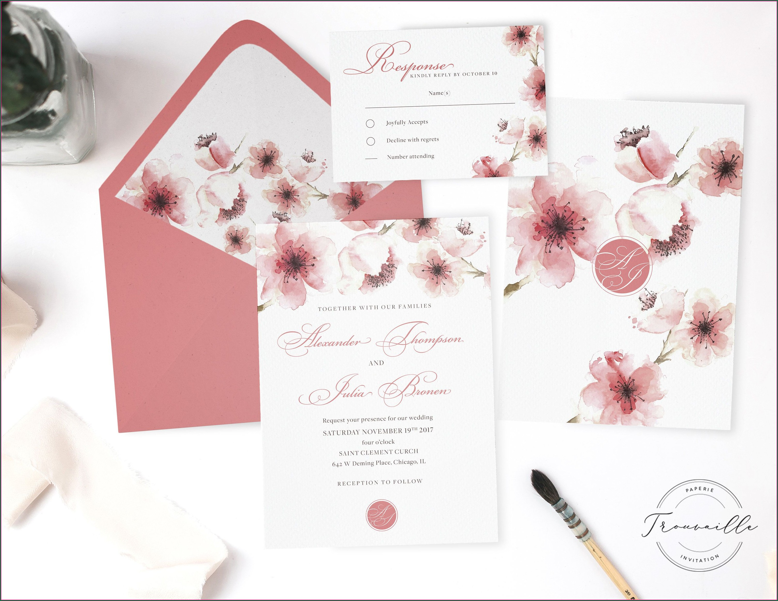 Wedding Invitation Cherry Blossom Design