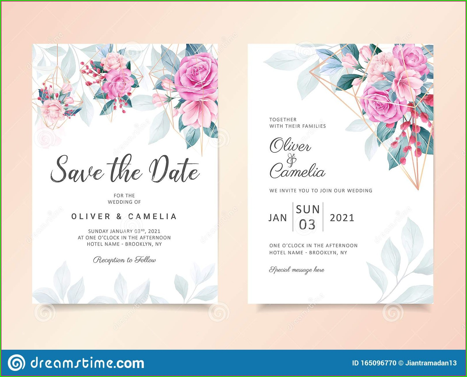 Wedding Invitation Elegant Peach Background