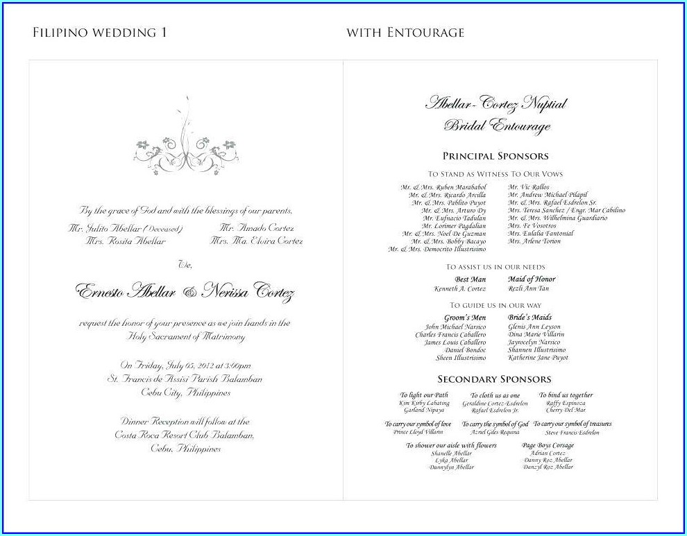 Wedding Invitation Principal Sponsors Wordings