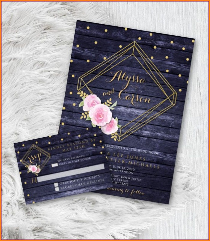 Wedding Invitations Navy Blue And Blush Pink