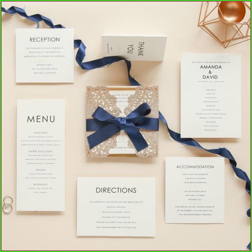 Wedding Invitations Navy Blue And Rose Gold