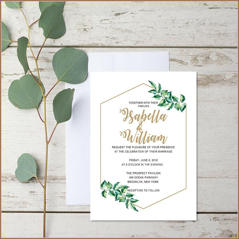 Wedding Invitations With Green Leaves