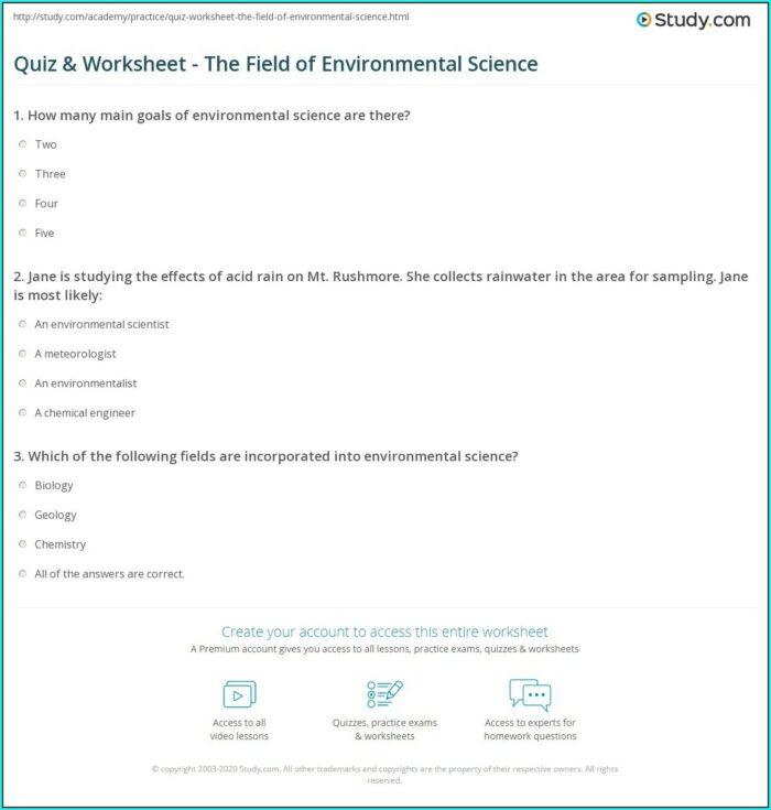 What Is Environmental Science Worksheet