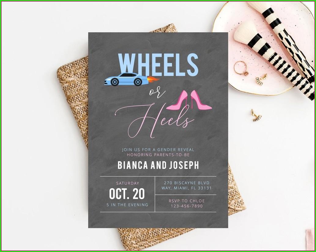 Wheels Or Heels Gender Reveal Invitations Template