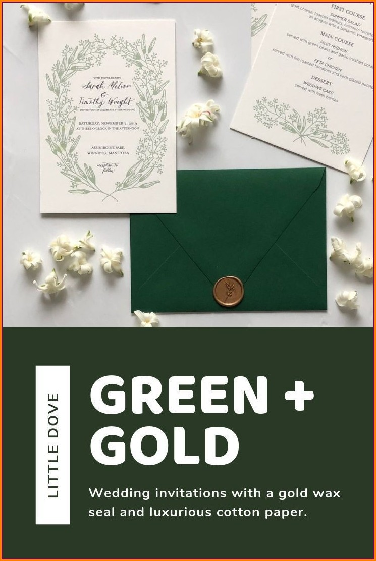 White Green And Gold Wedding Invitations