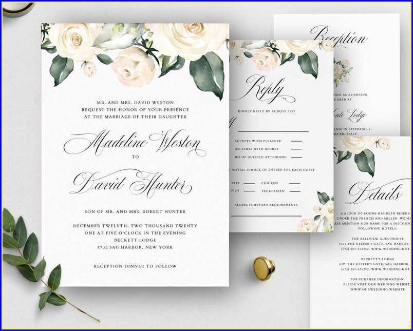White Rose Wedding Invitations