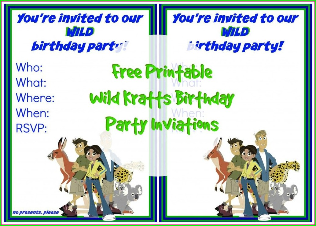 Wild Kratts Birthday Party Invitations