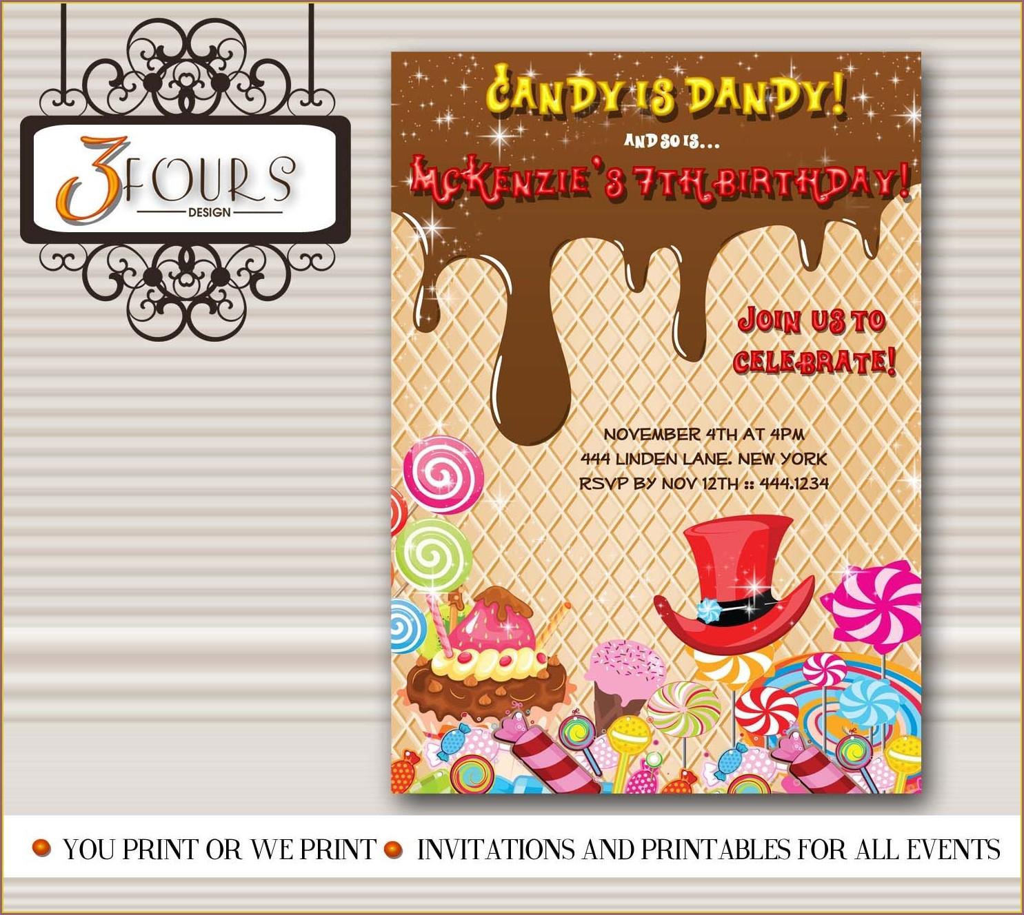Willy Wonka Birthday Invitations