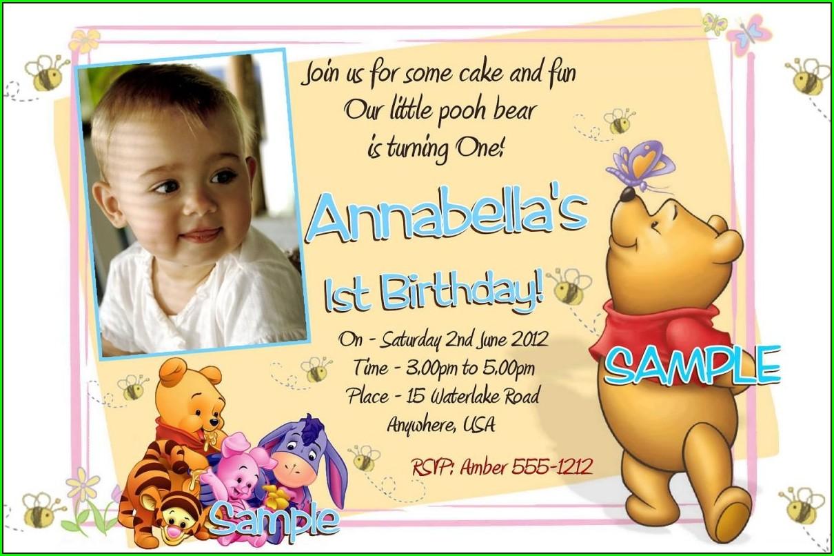 Winnie The Pooh Birthday Invitations Free Printable