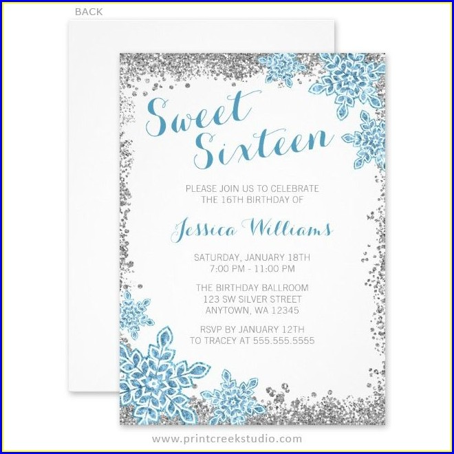 Winter Wonderland Sweet 16 Invitations