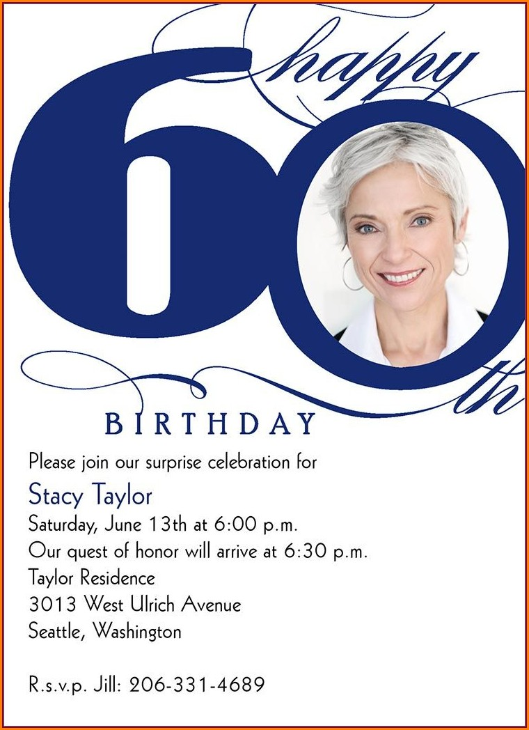 Woman 60th Birthday Invitation Wording