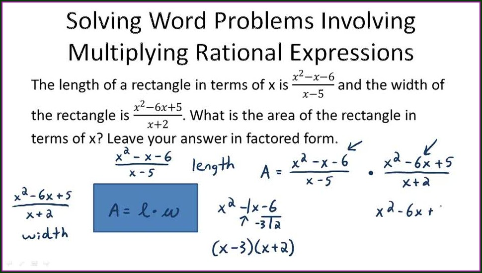 Word Problems Involving Rational Equations Worksheet