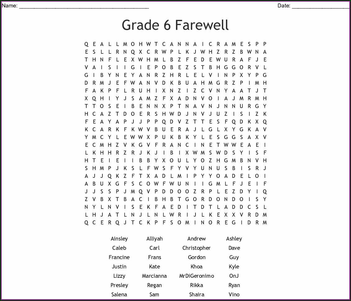 Word Search Worksheet Year 6