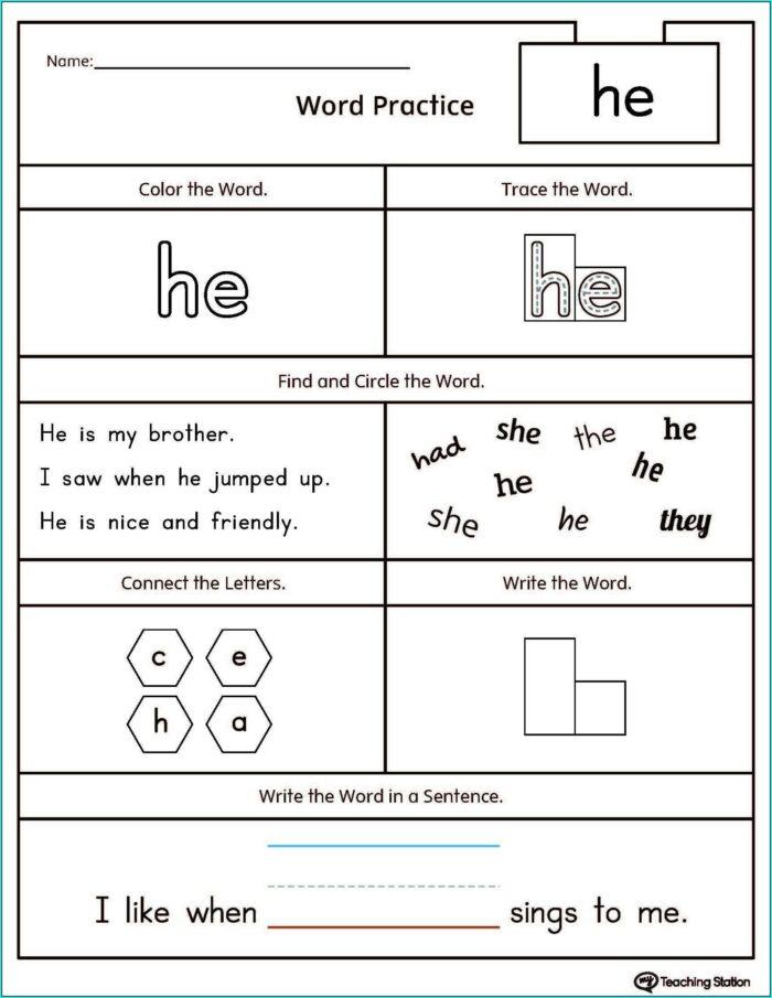 Word Worksheets For Kindergarten