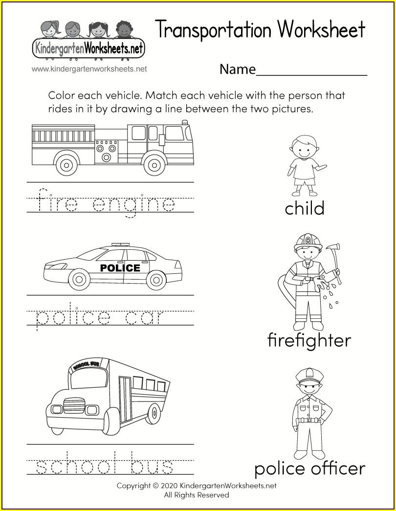 Worksheet For Kindergarten Transportation