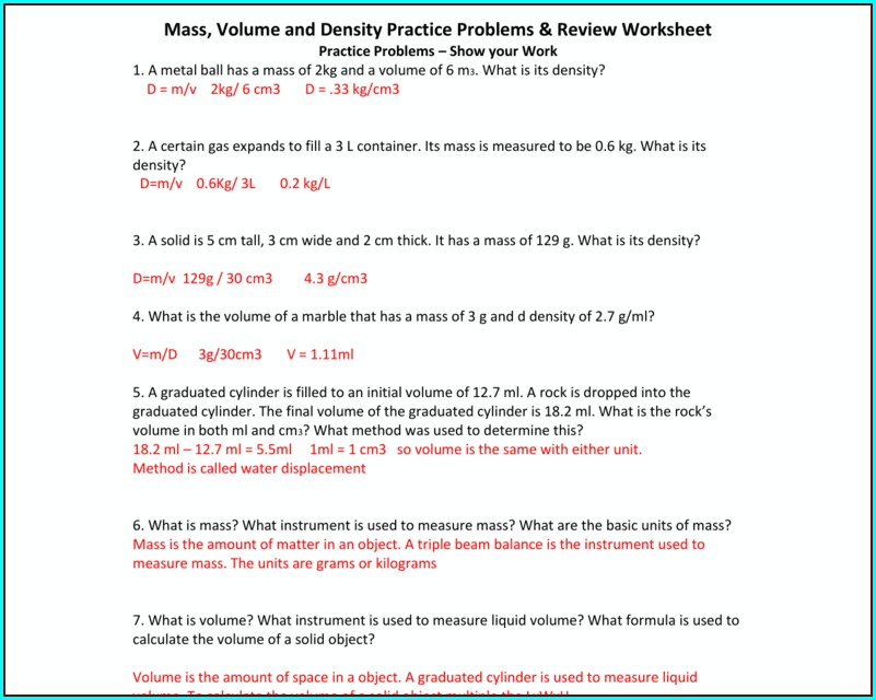 Worksheet On Density Mass And Volume With Answers