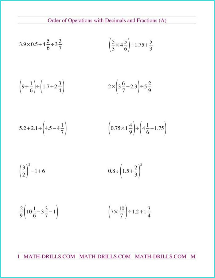 Worksheet On Order Of Operations With Fractions