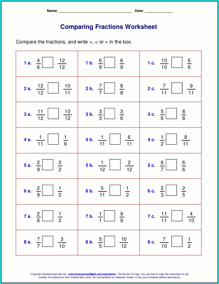 Worksheet On Ordering Fractions Tes