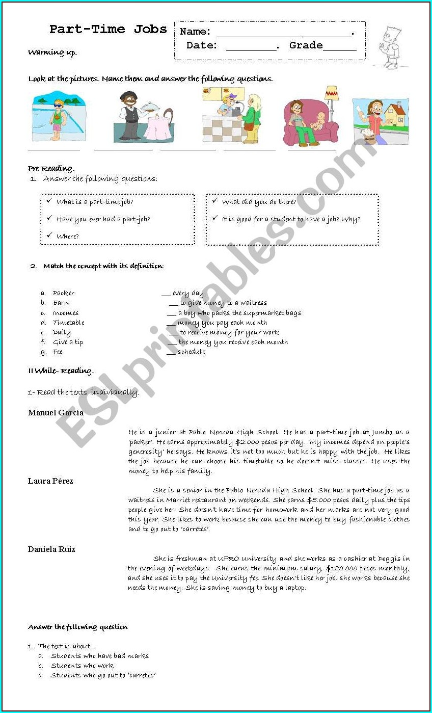 Worksheet Part Time Jobs